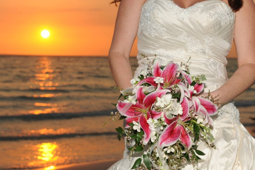Bride with Bridal Bouquet on Lido Beach