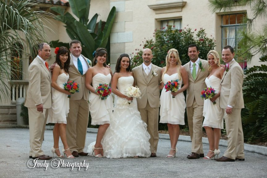 Wedding Party with Wedding Flowers at Powel Crosley Museum