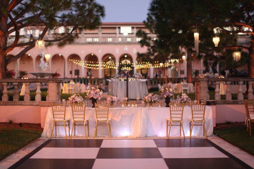 Head Table at Ringling Courtyard Wedding Reception, Sarasota, Florida