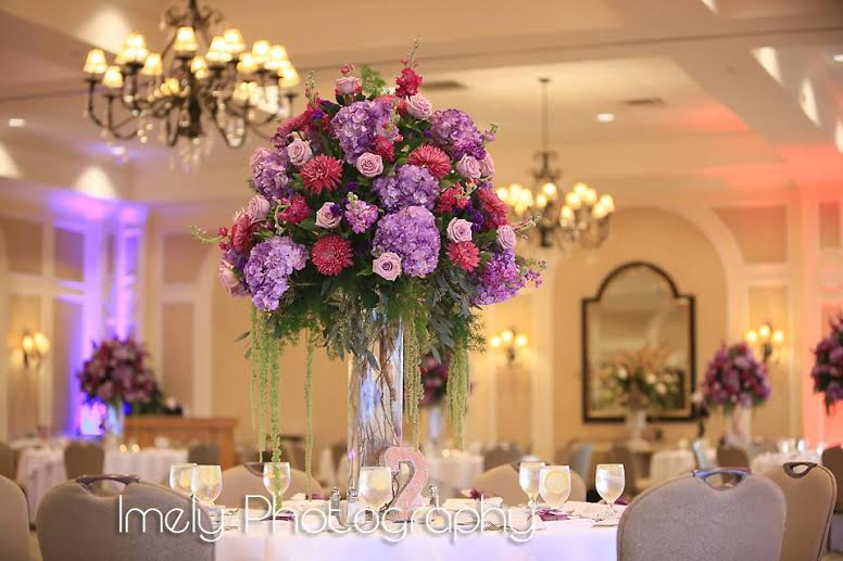 Elevated Centerpiece in Shades of Purple and Plum