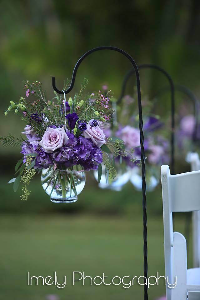 Purple Garden Flower Look in Shepherd's Hook