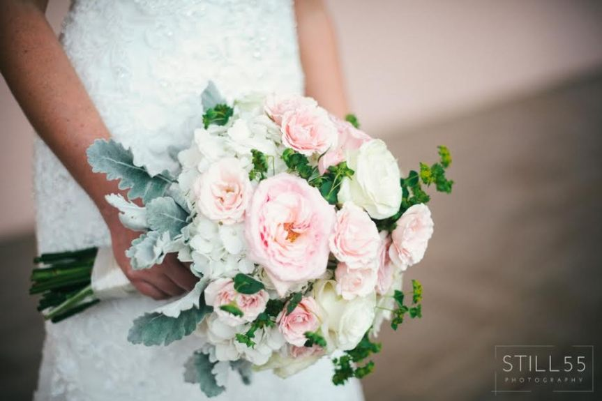 Peach and Cream Garden Bridal Bouquet