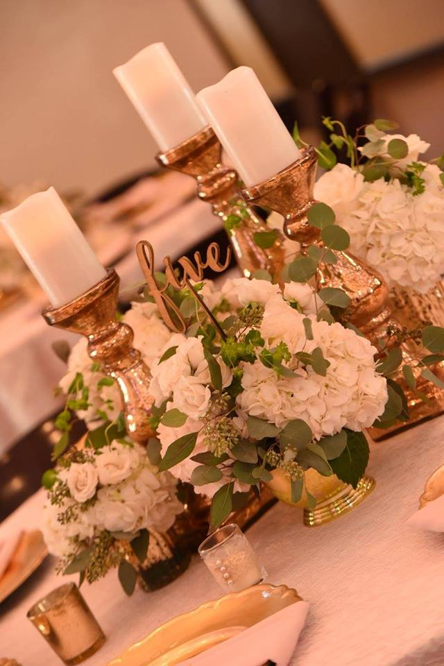 Composite Flowers with Gold Candles