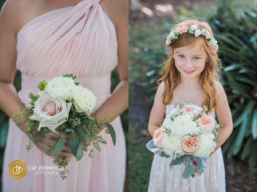 Bridesmaid's Bouquet and Flowers Girl