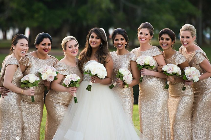 Bridal Party with Quicksand Cream Roses