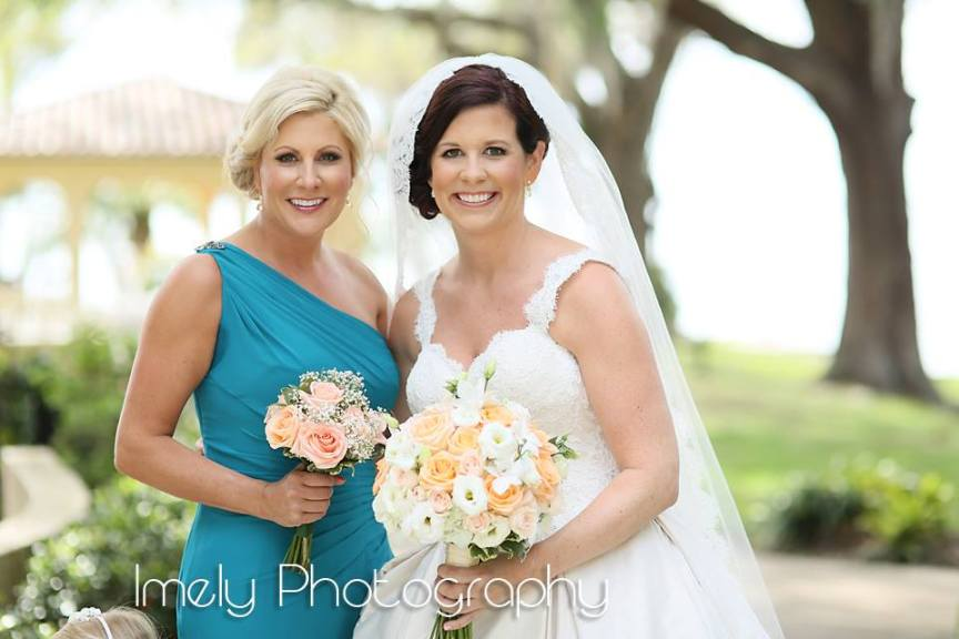 Bride with Maid of Honor and Bouquets