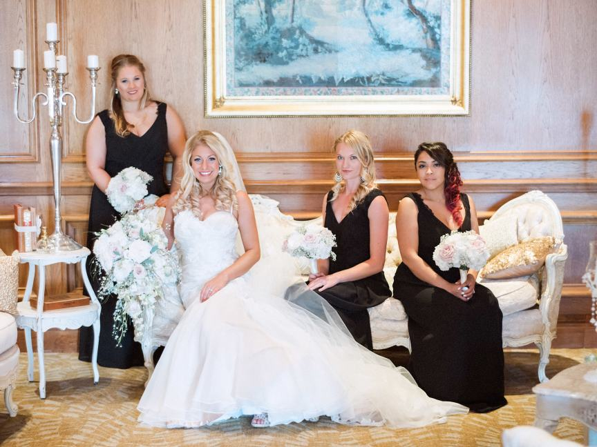 Bride and Bridesmaids on So Staged Sofa
