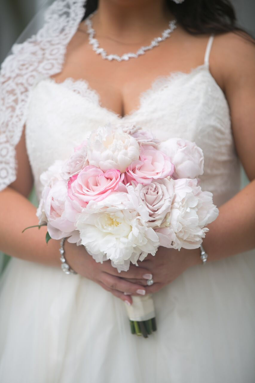 Close up of Bridal Bouquet with Pink Peonies and Roses