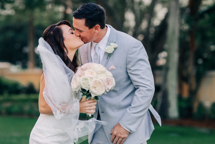Couple with Bouquet and Boutonniere