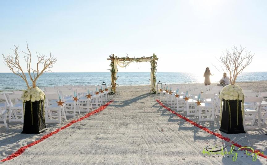 Beach Ceremony with Driftwood Arch