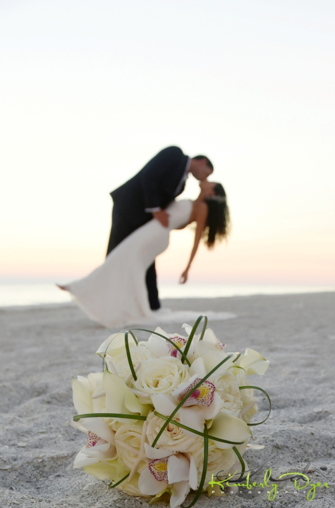 Bridal Bouquet with Couple on the Beach