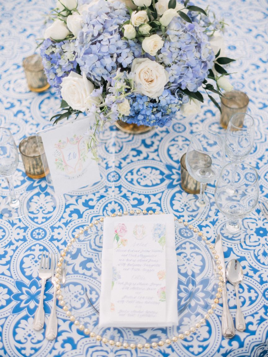 Place Setting in Blue and White