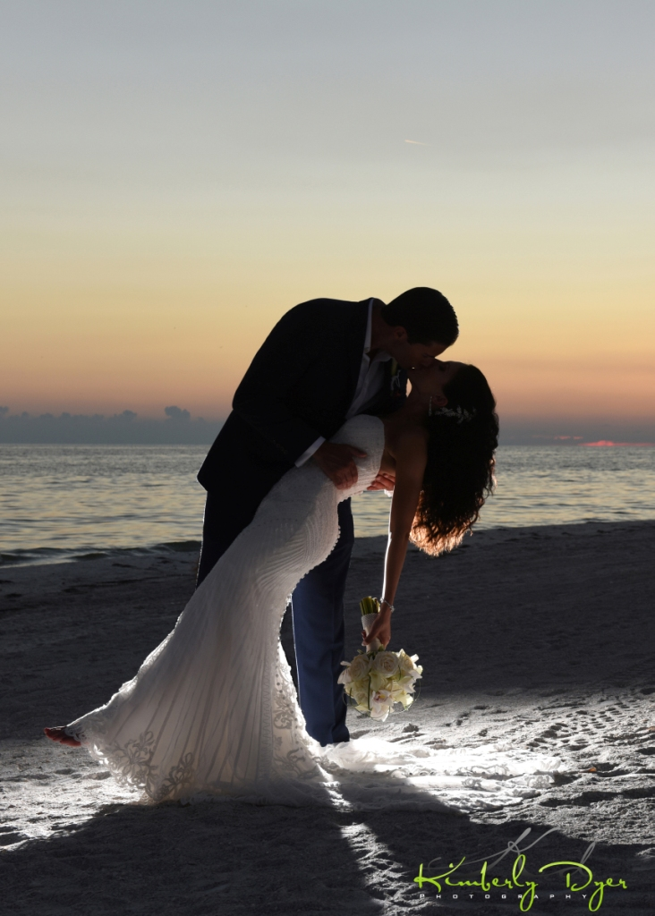 Sunset with Bride and Groom and Bouquet