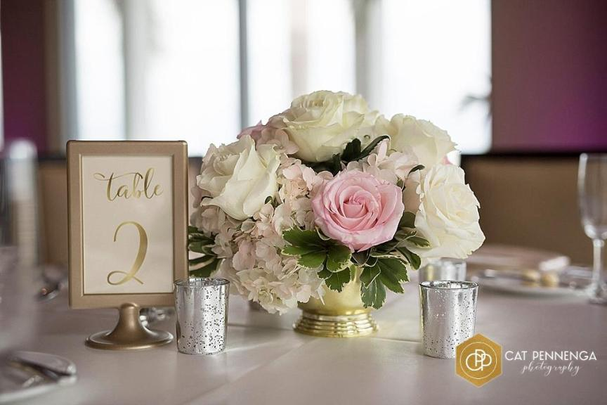 Guest Table Centerpieces in Gold Revere Bowl with Hydrangea, Pink and White Roses