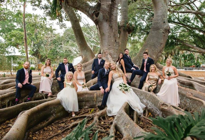 Wedding Party Under Banyan Trees at Marie Selby Botanical Gardens