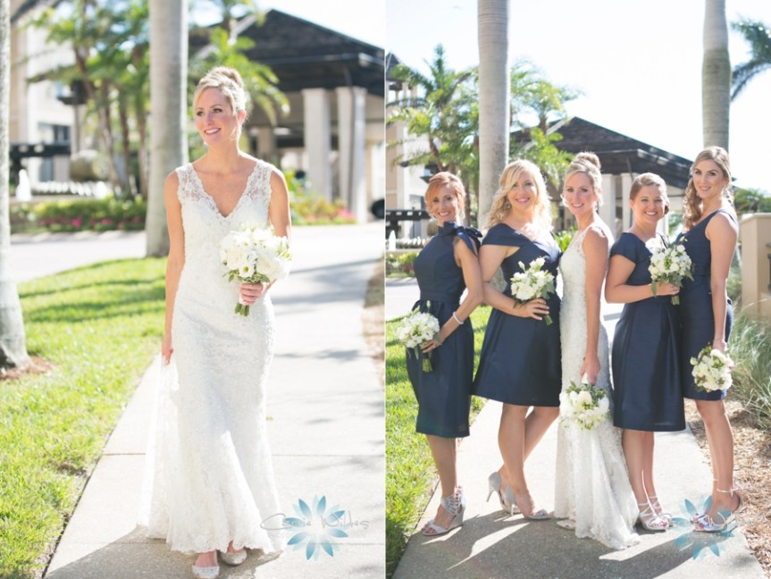 Bride with Bouquet and Bridesmaids in Navy with White Bouquets