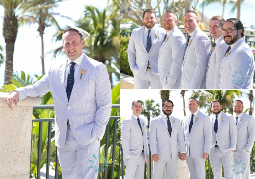 Groom and Groomsmen in Seersucker with Starfish Boutonnieres