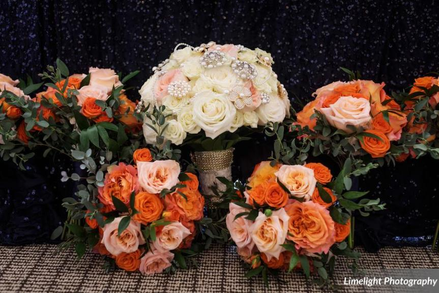 Bride's Bouquet and Bridesmaids' Bouquets in Tangerine