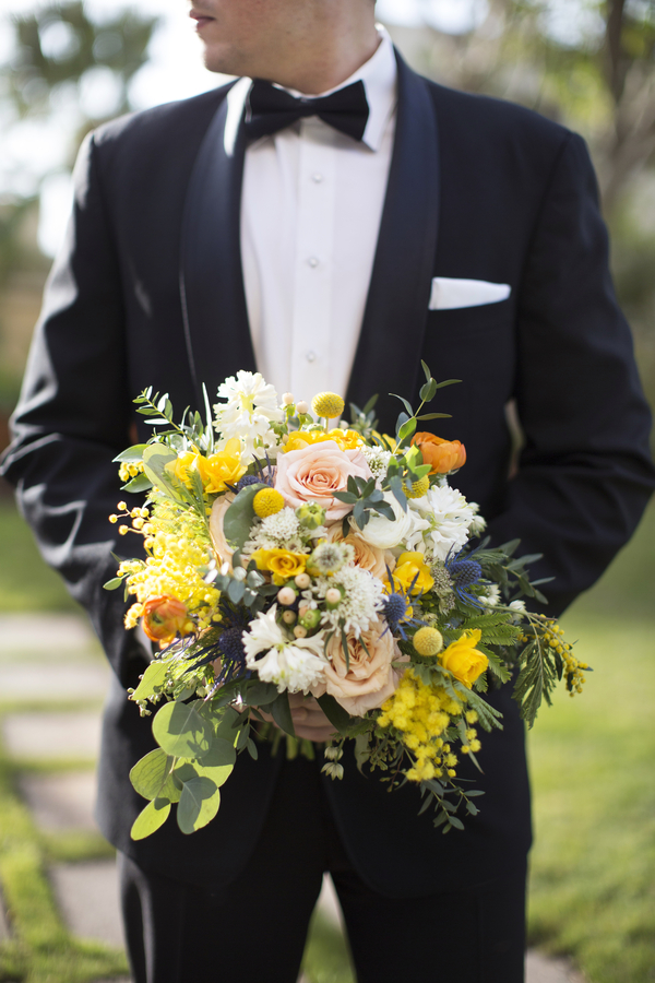 Groom with Bridal Bouquet