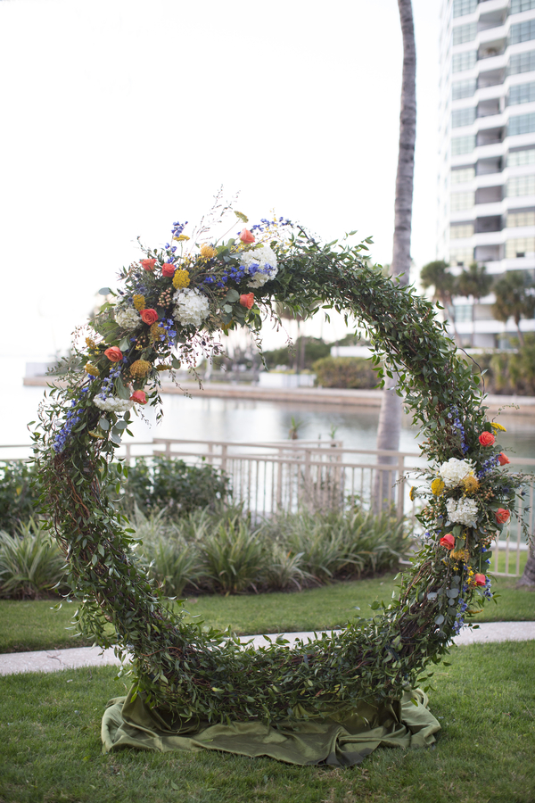 Wedding Arch with Spring Flowers at Ceremony Site Ritz Carlton Sarasota