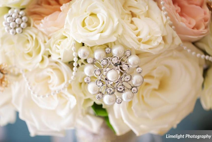 Close Up of Bridal Bouquet with Pearls