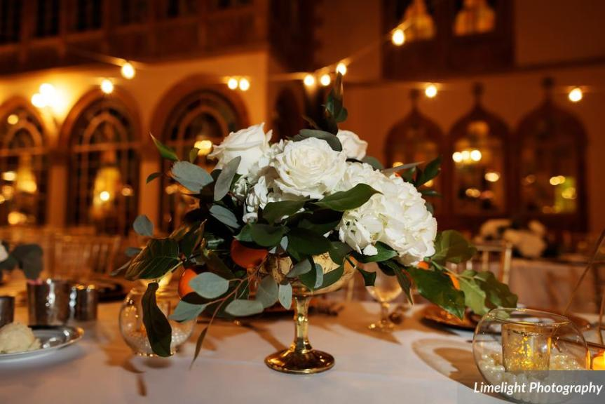 Feasting Table with White Roses in gold with Pearl and Orange Elements