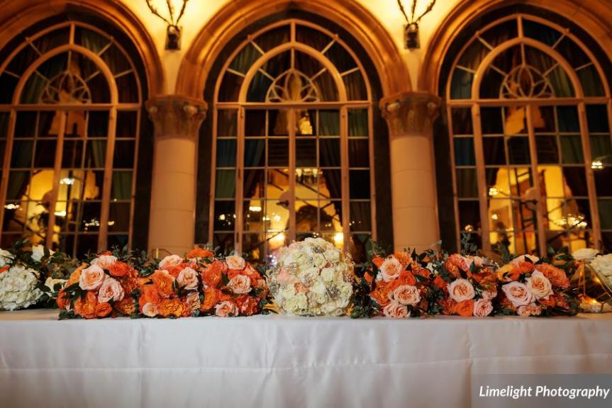Feasting Table with Bride and Bridesmaids Bouquets