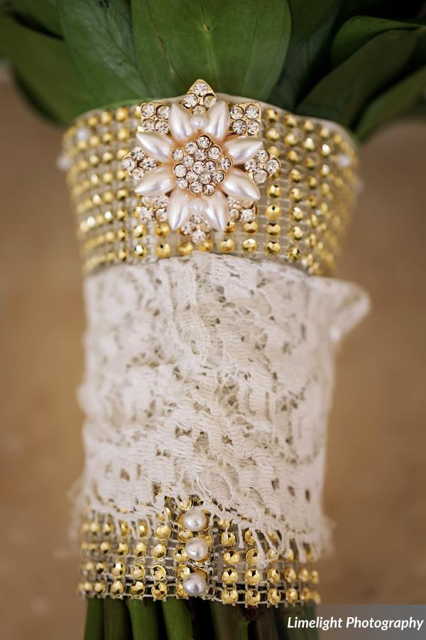 Lace and Pearl Treatment on Bridal Bouquet
