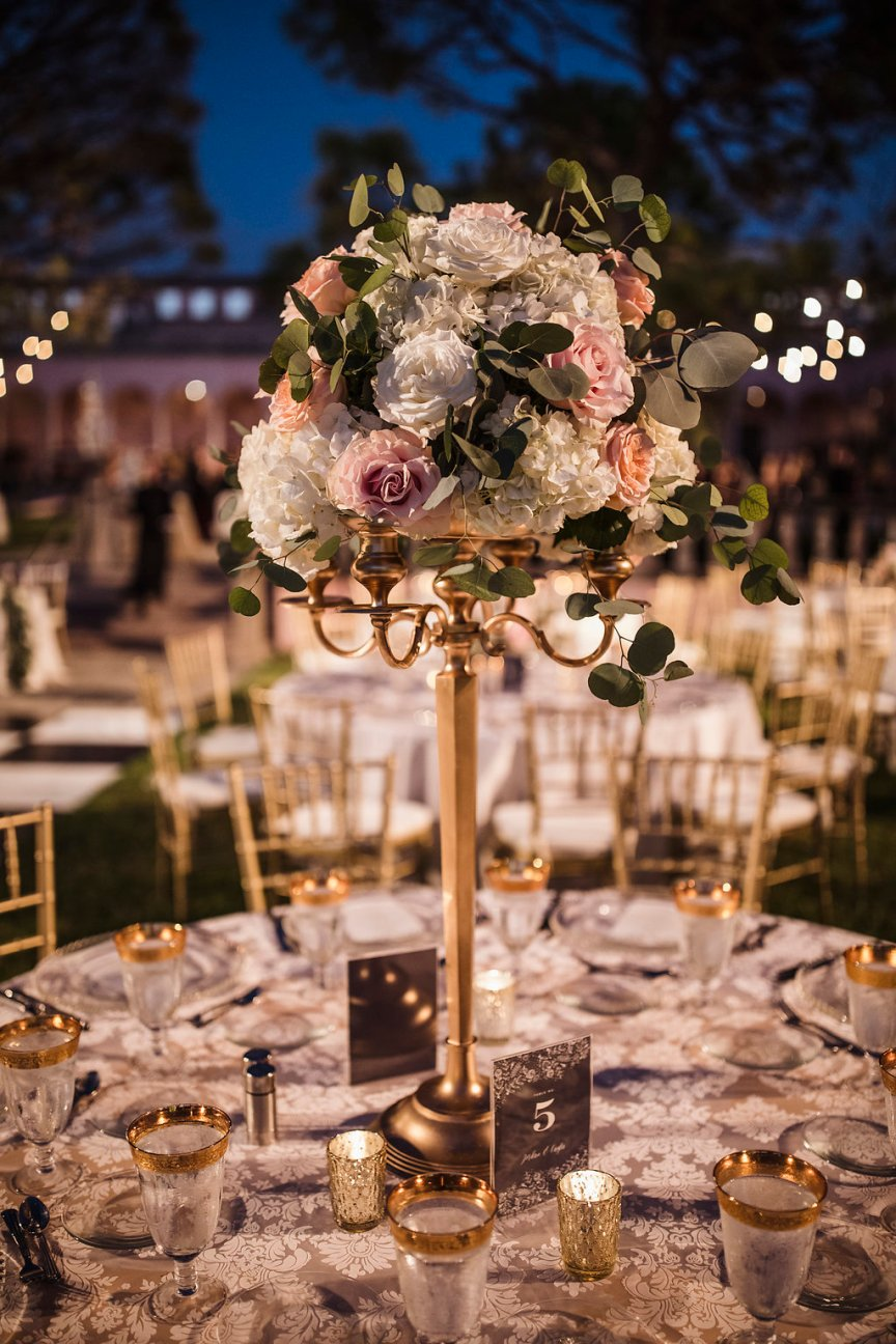 Gold Candelabra High Table Centerpiece