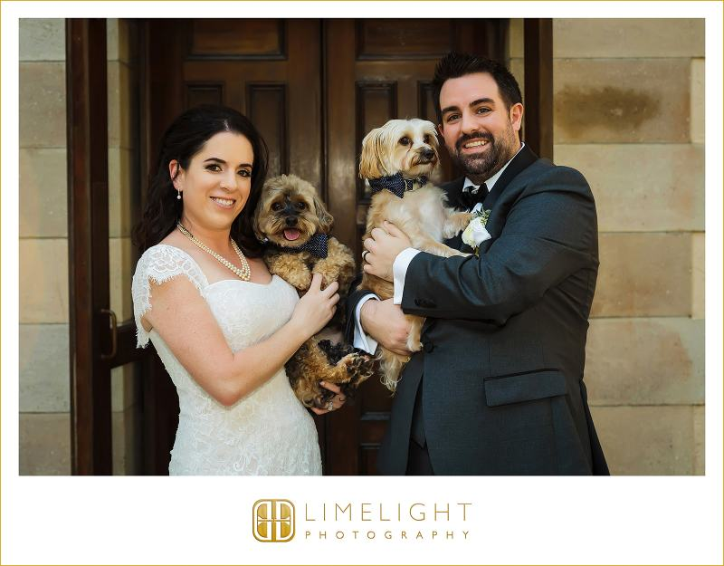 Bride and Groom with Beloved Ring Dogs