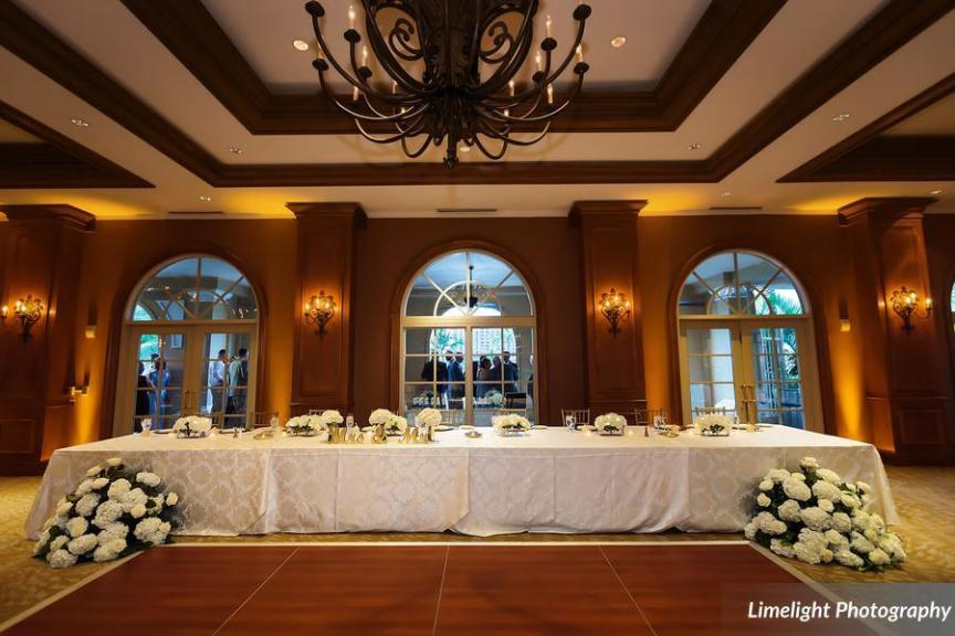 Head Table with All-White Floral Arrangements