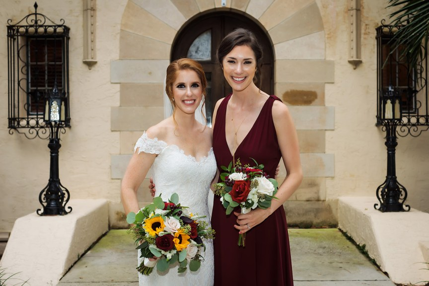 Bride and Bridesmaid with their Bouquets
