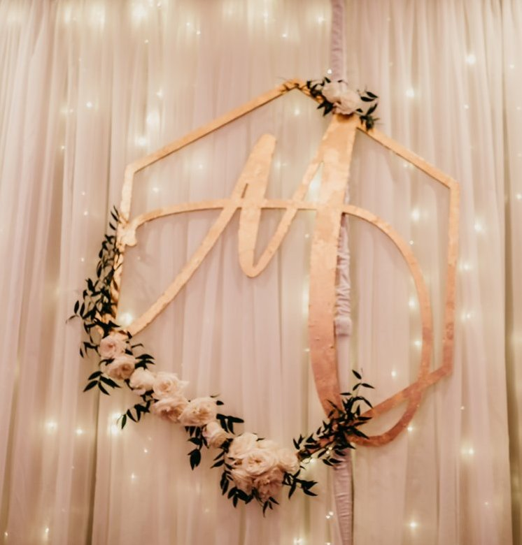 Monogrammed Wall Hanging with Flowers