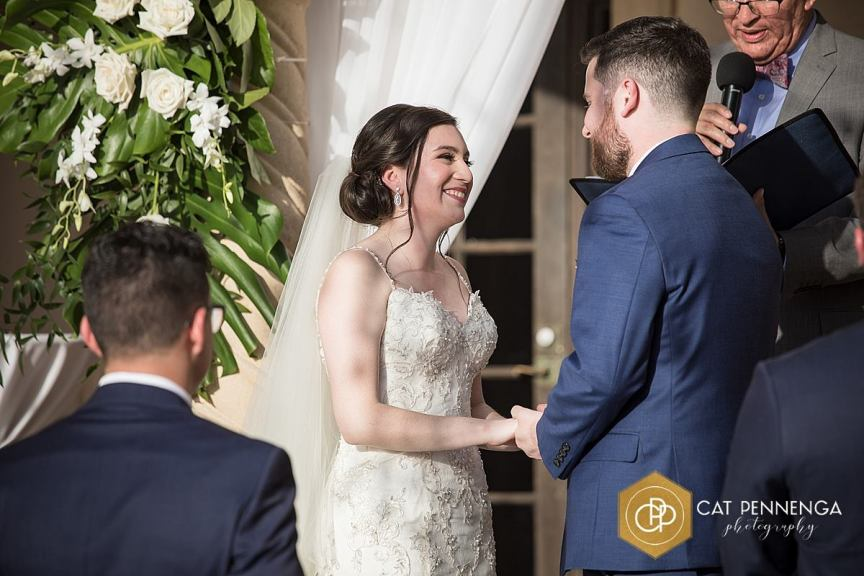 Bride and Groom During Vows