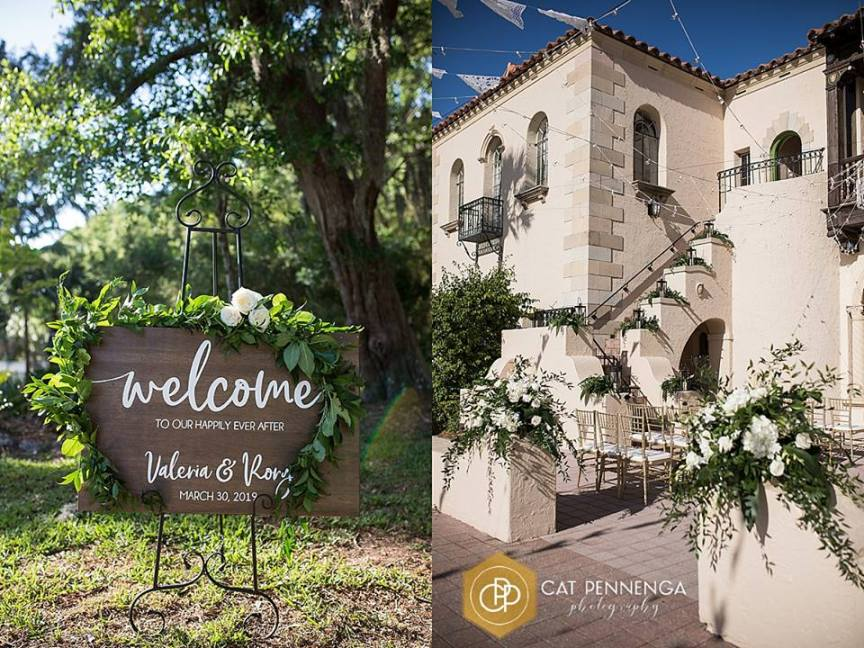 Welcome Sign with Lots of Greenery and Back of Aisle Floral Arrangements