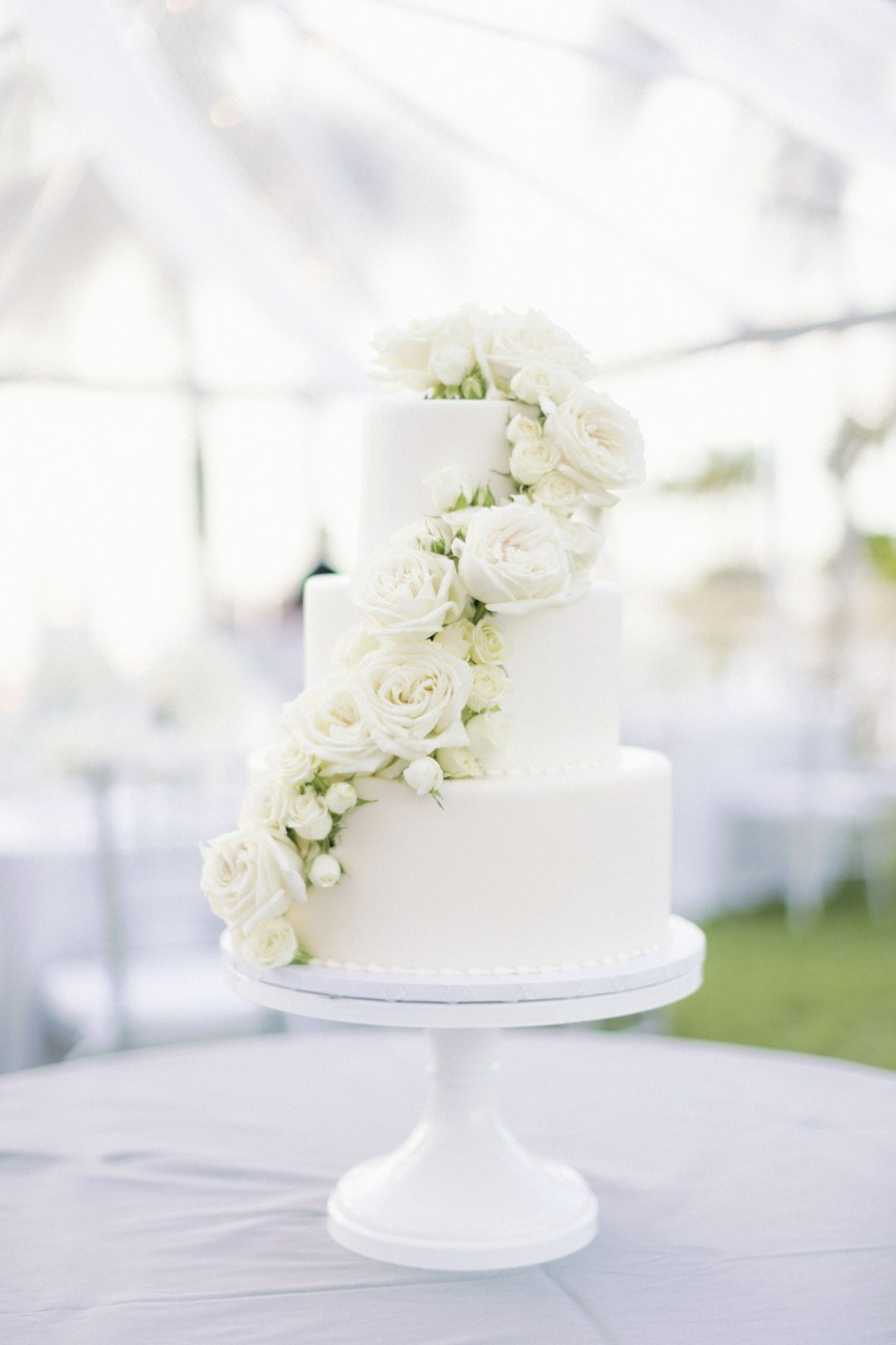 Beautiful All-White Wedding Cake