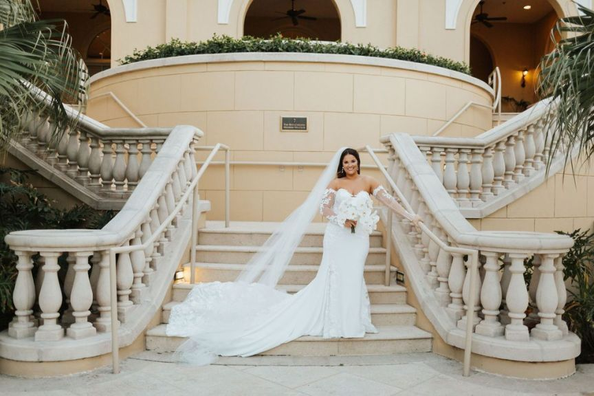 Bride with Bouquet on the Stairs at the Ritz Carlton Sarasota