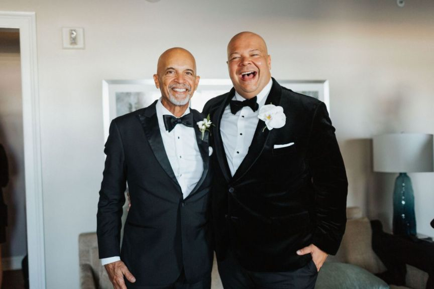 Groom and Father with Floral Boutonnieres