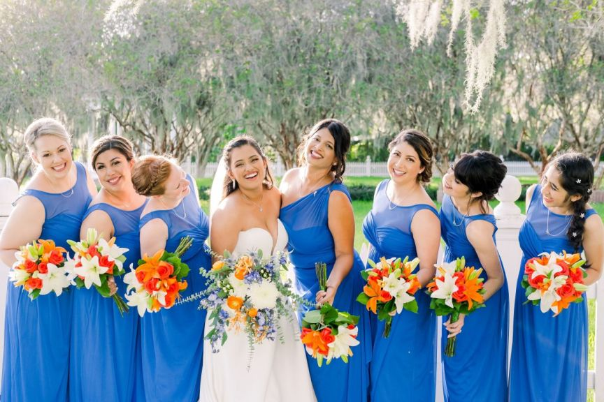 Bridal Party with Orange and Blue Bouquets