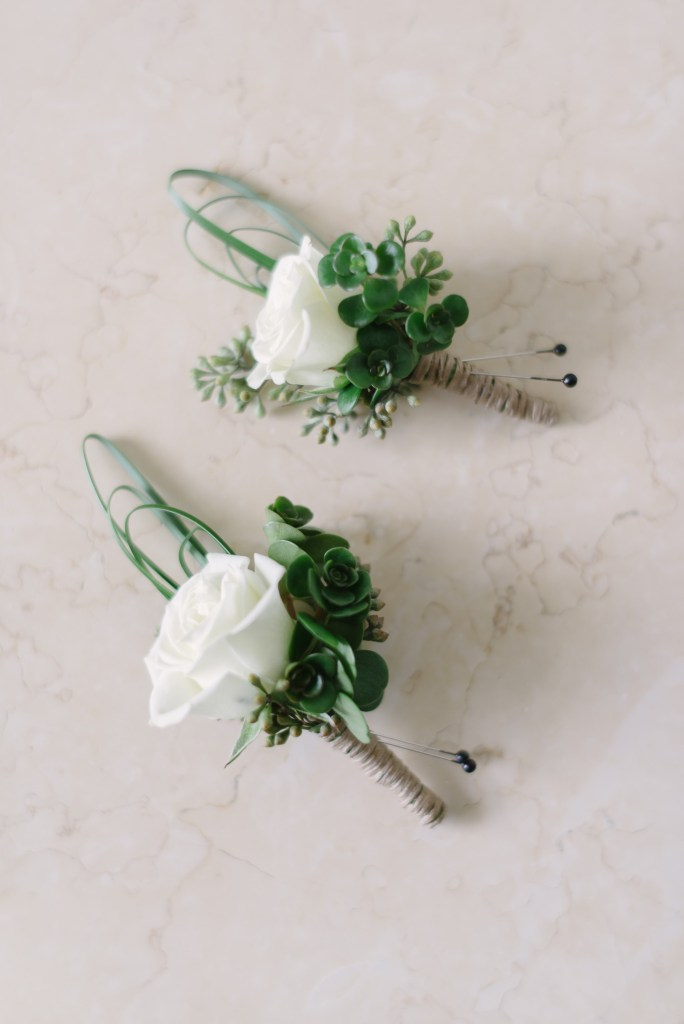 All-White Boutonnieres