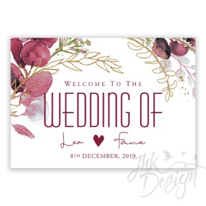 Burgundy wedding welcome sign