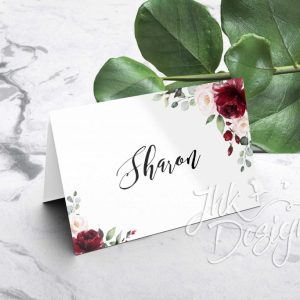 Burgundy Floral Folded Wedding Place Cards - Double Sided
