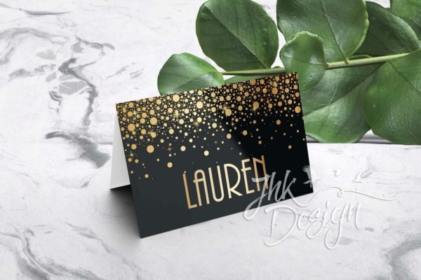 Gold Bubbles Folded Wedding Place Cards