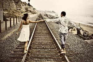 San Clemente Engagement on train tracks