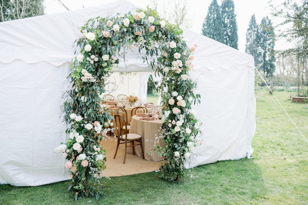 Outside marquee wedding