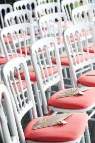 white and coral chairs
