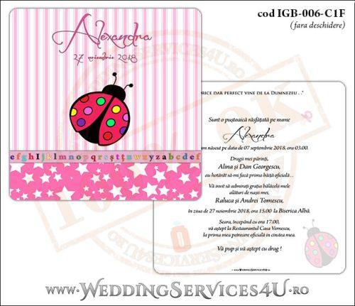Invitatie de Botez cu gargarita si fundal roz in dungi cu stelute IGB-006-C1F