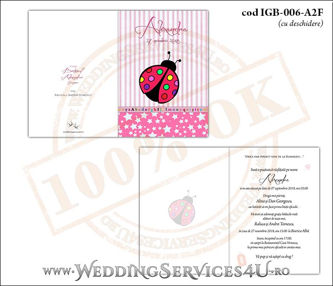 Invitatie de Botez cu gargarita si fundal roz in dungi cu stelute IGB-006-A2F