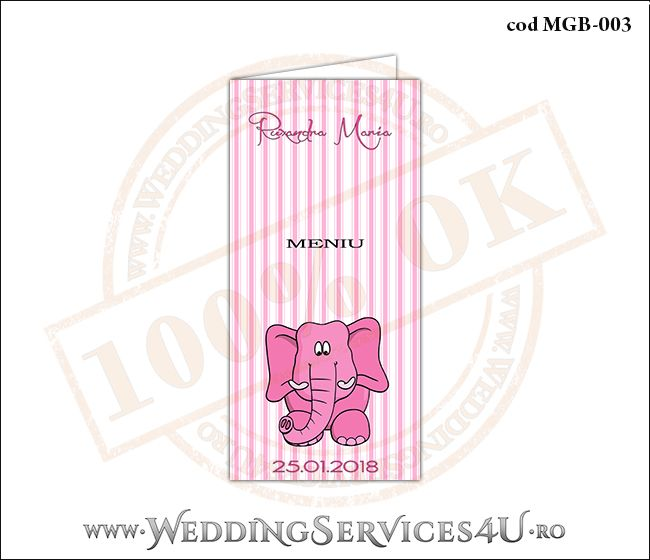 Meniu de Botez cu elefantel si fundal roz in dungi MGB-003