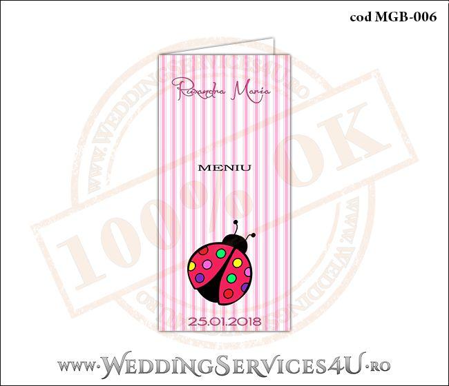 Meniu de Botez cu gargarita si fundal roz in dungi MGB-006